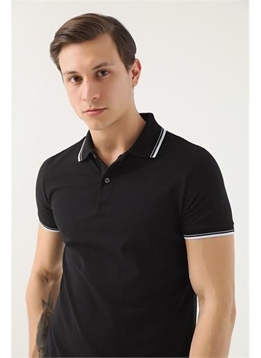 D'S Damat Ds Damat Slim Fit Siyah Pike Dokulu T-Shirt Siyah